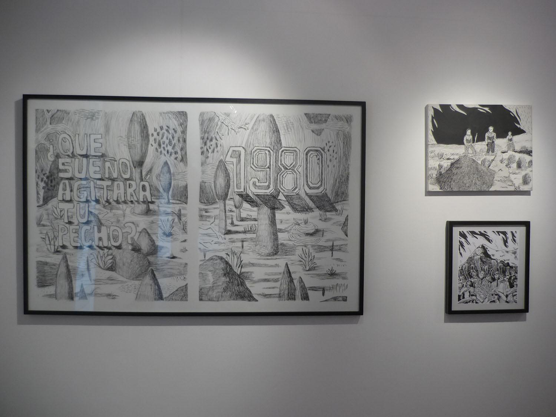 Montaje de dibujos en tinta china en el marco de La doncella corintia en Fondo Nacional de las artes 2012 curaduría Verónica Gómez