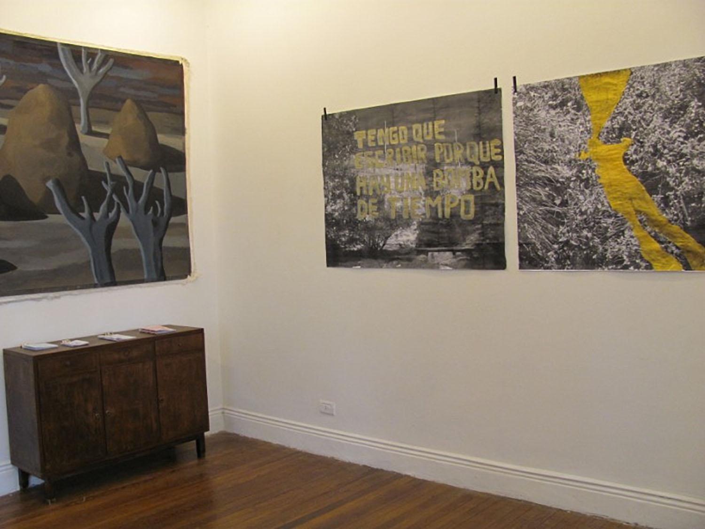 Tengo que escribir porque hay una bomba de tiempo, Montaje de obra en pintura y obras en fotocopia en Iván Rosado, Rosario. 2010