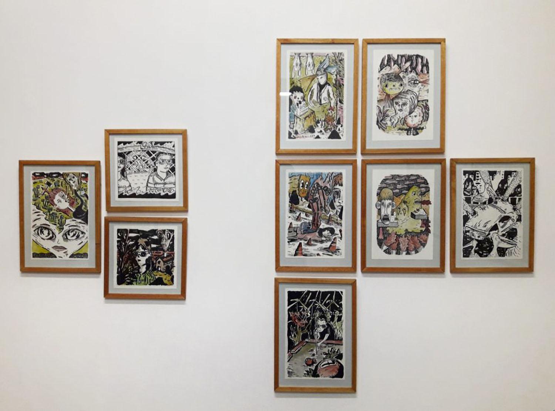 Un conjunto, Montaje de dibujos en Púrpura Galería, Santa Fe, 2018