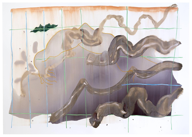 """""""Río (superficie)"""" Tempera al huevo y gouache sobre papel. 75 x 104 cm. 2018"""